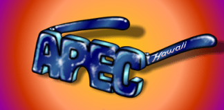 APEC glasses cartoon, illustration, Asia Pacific Economic Cooperation, Honolulu see though APEC lenses.