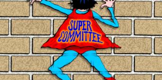 Super Committee cartoon, Super Committee fails, hits brick wall