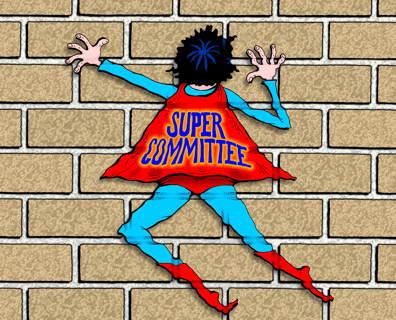 Super Committee cartoon, Super Committee fails, hits brick wall