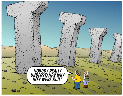 Honolulu rail pillars Easter Island statues parody cartoon