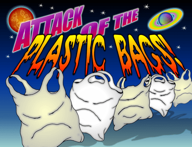 Plastic bag cartoon, plastic bags destroy planet earth, attack of the plastic bags