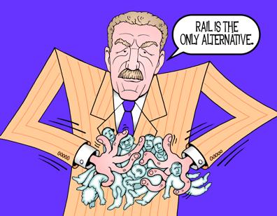 Honolulu rail cartoon, Peter Carlisle cartoon, public manipulation illustration