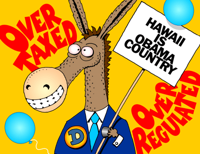 Hawaii Democratic Convention cartoon donkey