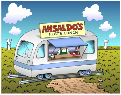Honolulu rail transit cartoon, Plan B for Ansaldo rail cars, lunch wagon, plate lunch