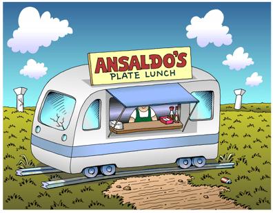 Honolulu rail transit cartoon, Plan B for Ansaldo rail cars, lunch wagon, plate lunch