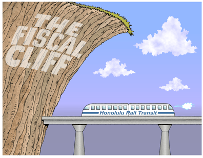 Honolulu rail cartoon, federal funding for rail meets the fiscal cliff