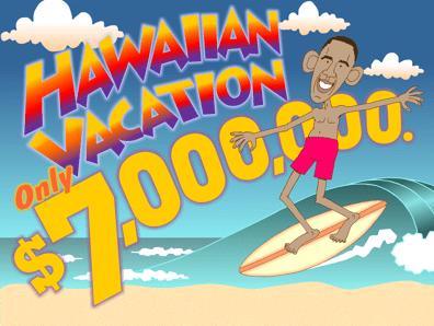 Obama Hawaiian vacation cartoon