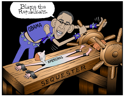 Obama cartoon, Obama inflicts pain of sequester, spending cuts cartoon