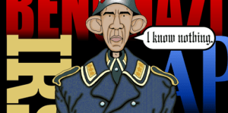 Obama cartoon, Obama knows nothing about scandals, Obama is Sargent Schultz
