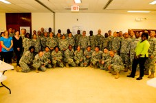 Soldiers and civilians from the 25th Infantry Division and other units on Hawaii gather for a group photo during an 80-hour Sexual Harassment and Assault Response Prevention certification course on Wheeler Army Airfield, Hawaii, Aug. 13.