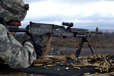 Sgt. Austin Wiley from 209th Aviation Support Battalion, 25th Combat Aviation Brigade, 25th Infantry Division, qualifies with a M240B machine gun at the M240/M249 range during a training rotation at Pohakuloa Training Area on the Island of Hawaii, Sept. 18. The training supported the 25th ID Contingency Response Force before assuming the Pacific CRF role in October.