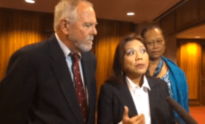 Rep. Rida Cabanilla speaks to the press
