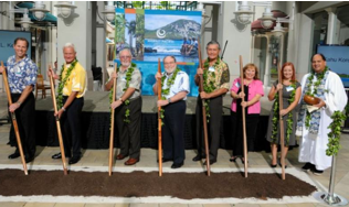 Joachim Cox, incoming chairman of the board, HPU, Mayor Kirk Caldwell, Dr. Geoffrey Bannister, president, HPU, Governor Neil Abercrombie, Dr. Michael Chun, chairman of the board, Hawaii Pacific University, Janet Kloenhamer, executive vice president for administration and general counsel, HPU, Miina Huotari, student body president, HPU, Kahu Kordell C.L. Kekoa