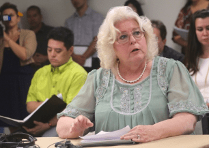 Hawaii Councilmember Brenda Ford calls for Nago to be fired (Photo by Mel Ah Ching)