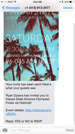 Hobnob SMS Invites
