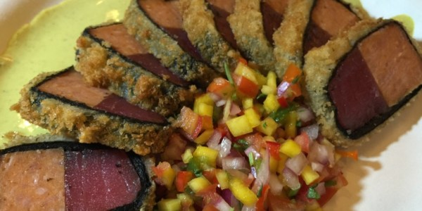 Chai Waikiki's Spam with Ahi Katsu Wasabi Curry and Mango Salsa