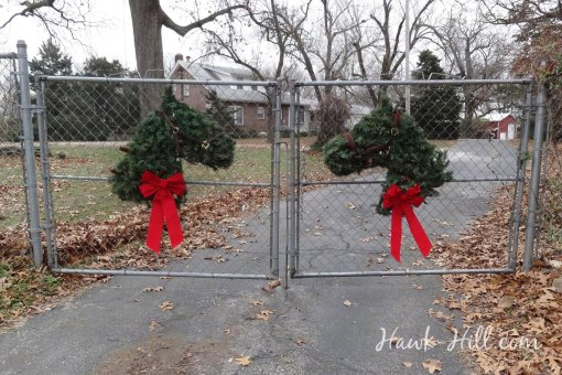 Estate Gates with Horse Christmas Wreaths