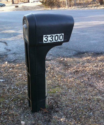 plastic mailbox with standard numbers