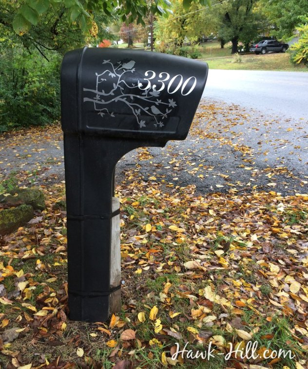plastic mailbox with elegant cursive vinyl house numbers