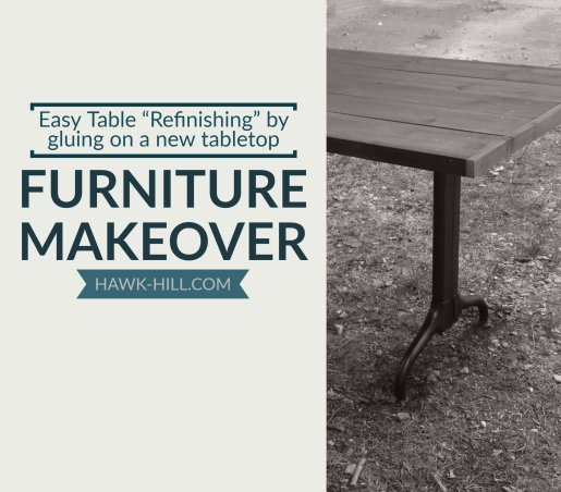 easy table refinishing by overlaying a new tabletop over existing formica