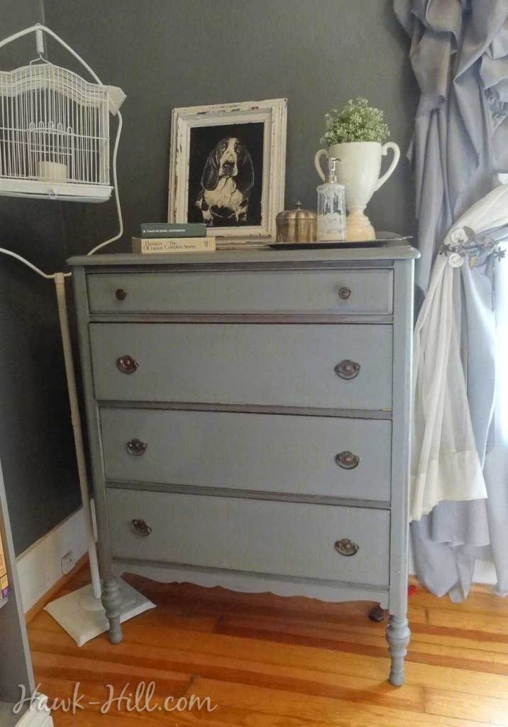 Vintage Chest of Drawers in Grey Bedroom: Hawk-Hill.com