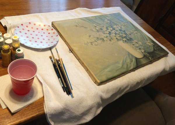 Painting over a thrift store painting to create a paint by number style painting.