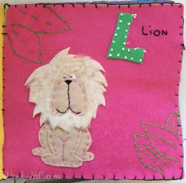 My Quiet Book L Page Layout is a Lion