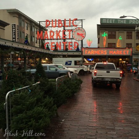 Christmas Tree Lot in front of Pike place Market, December 2015