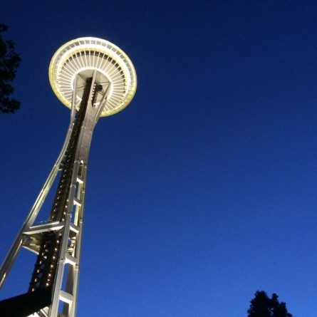 Space Needle as seen from free-admission Seattle Center