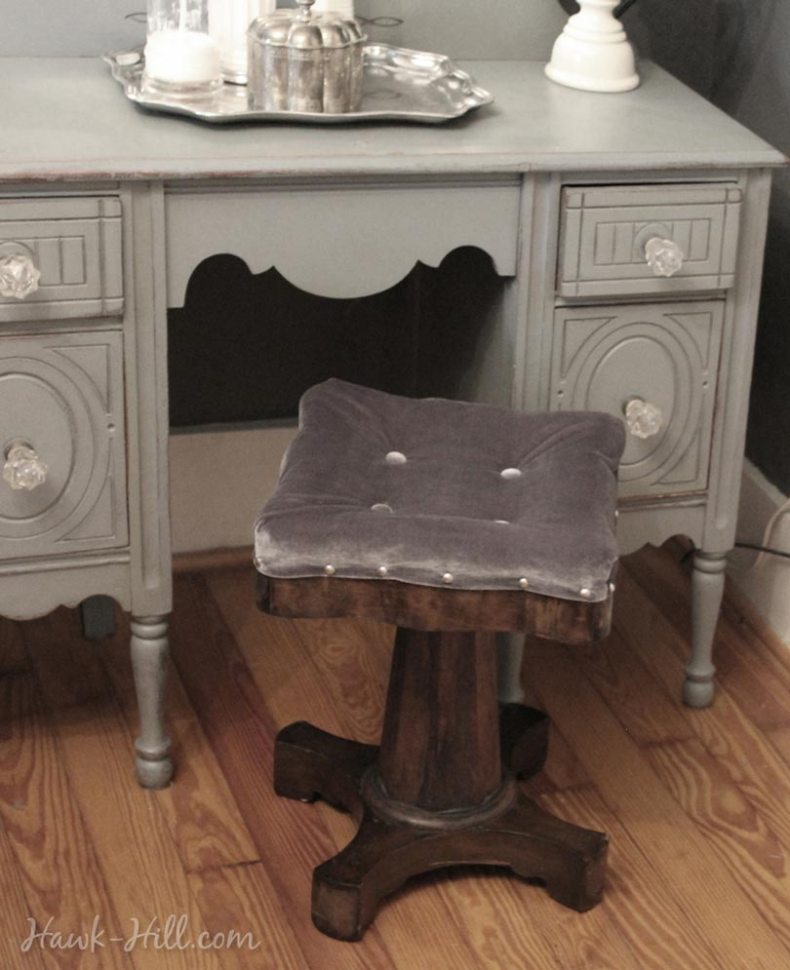 antique vanity upholstered stool