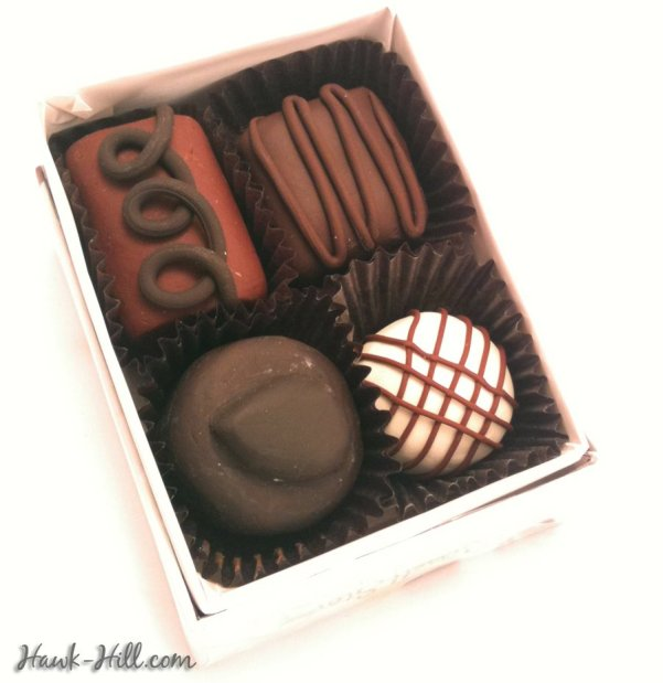box of fake food chocolates - made with polymer clay