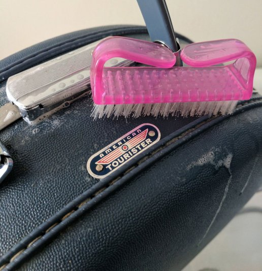 cleaning an american tourister vintage hat case