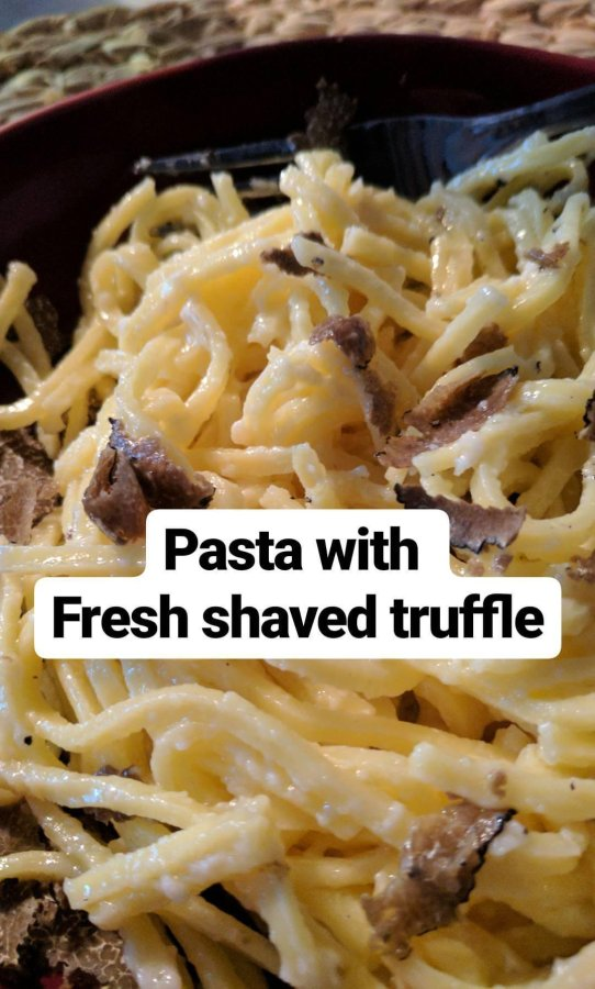 pasta made with truffles from a mushroom hunt