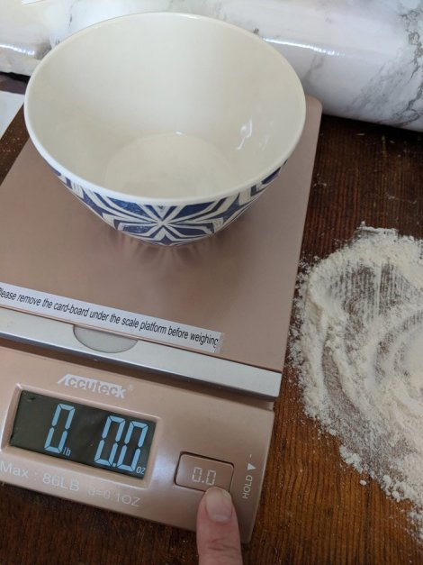 "Before weighing your baking mix, place your mixing bowl on the scale and ""zero out"" the scale-resetting the weight to 0.e"