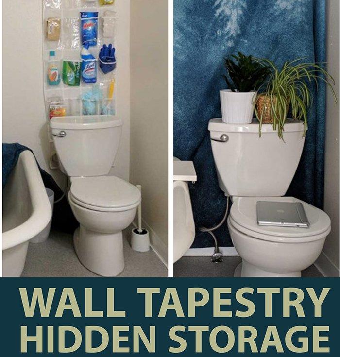 Create hidden bathroom storage with an accent wall