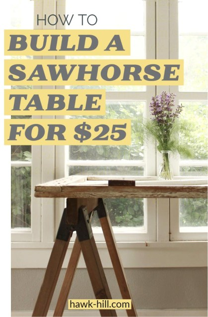 Step by step tutorial for building furniture-quality sawhorse table legs for less than $25.