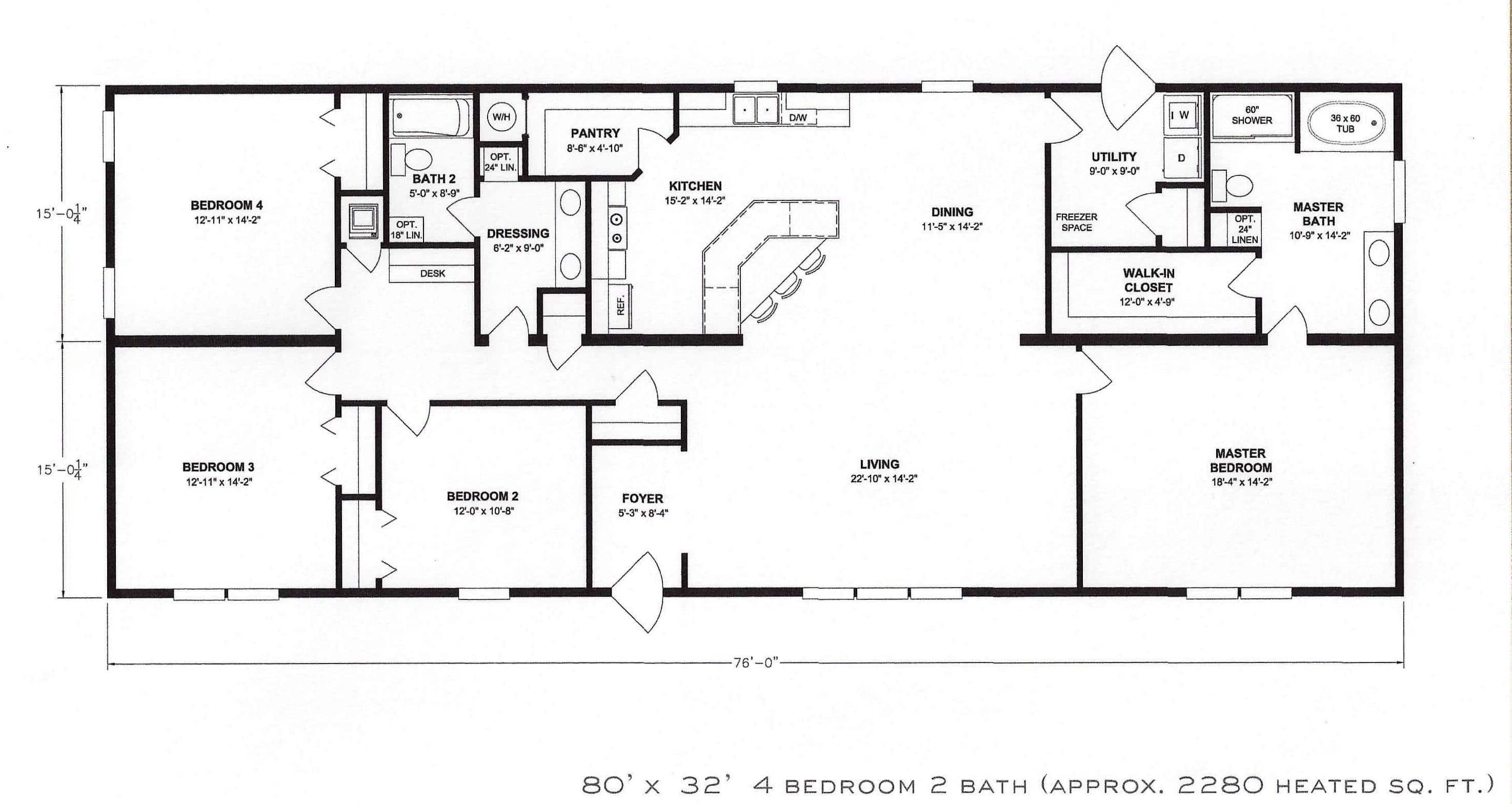 4 bedroom floor plan: f-1001 - hawks homes | manufactured