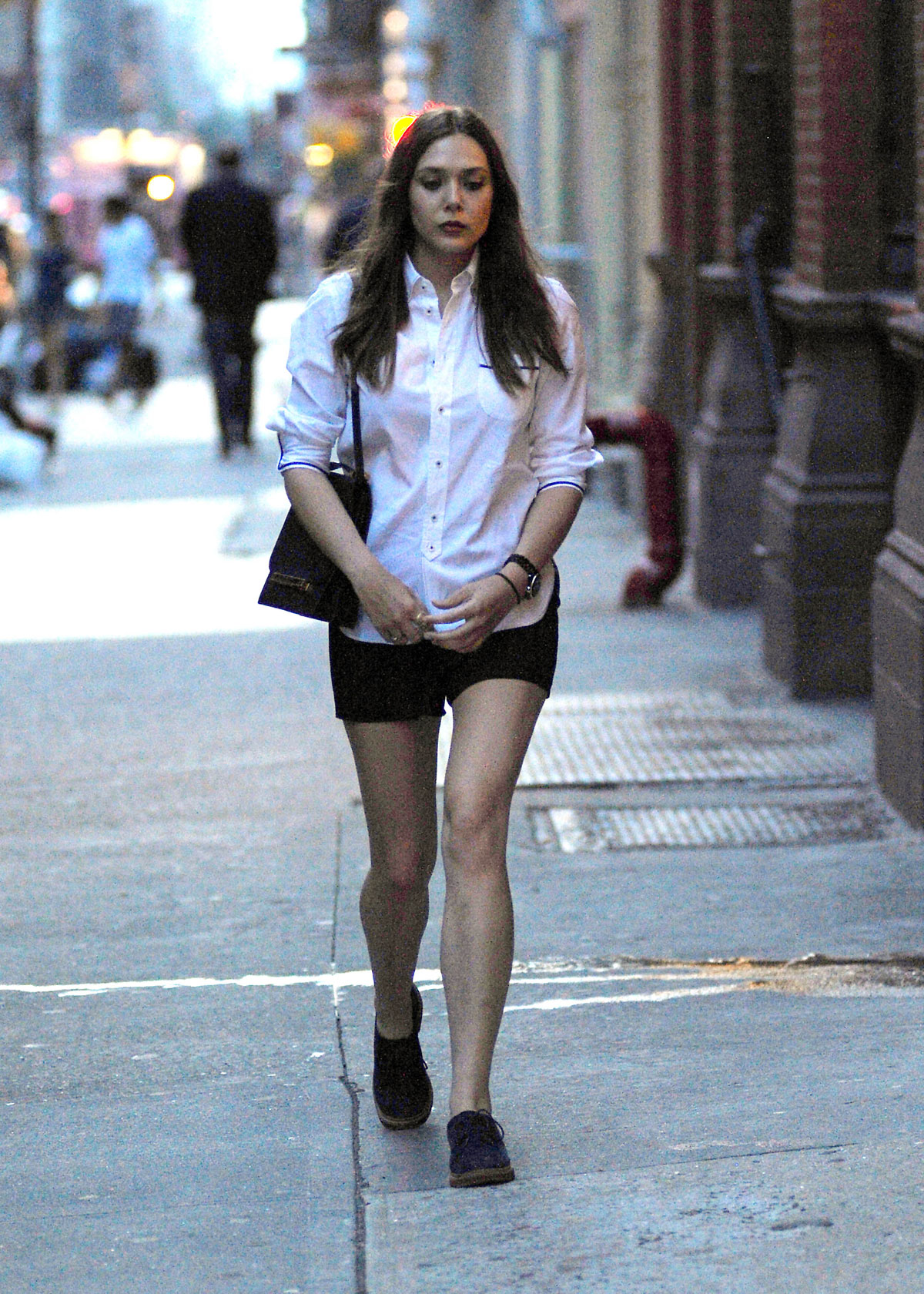 ELIZABETH OLSEN Leggy Candids Out And About In New York