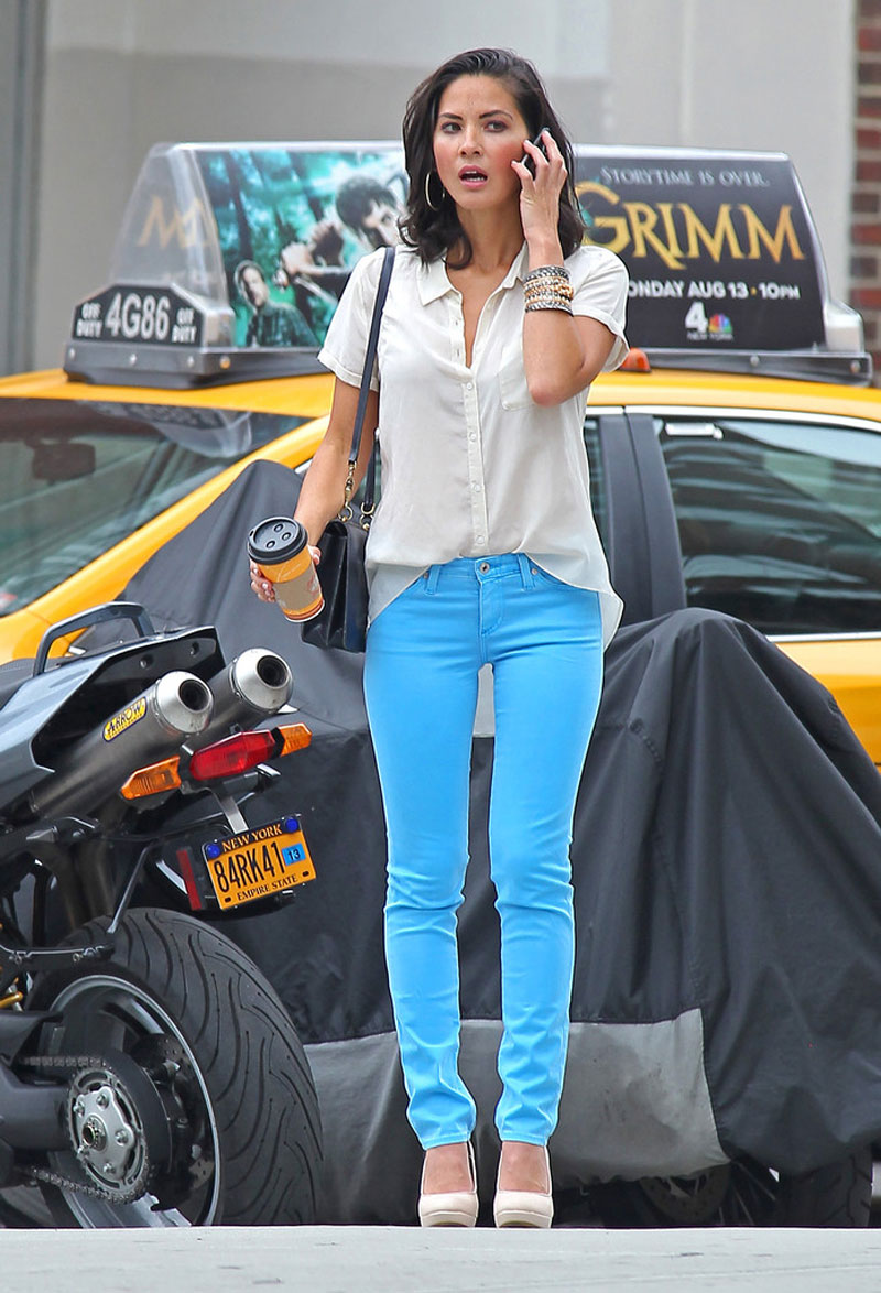 OLIVIA MUNN In Bue Jeans Out And About In Soho HawtCelebs