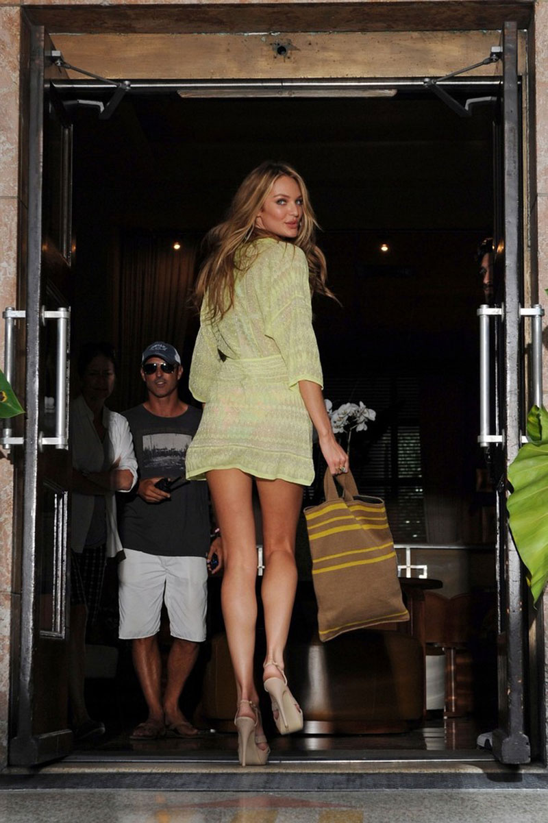 CANDICE SWANEPOEL In Short Dress And Bikini Top Leaves Her Hotel HawtCelebs