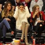 Khloe Kardashian Kendall Jenner And Cara Delevingne At A Basketball Game Hawtcelebs