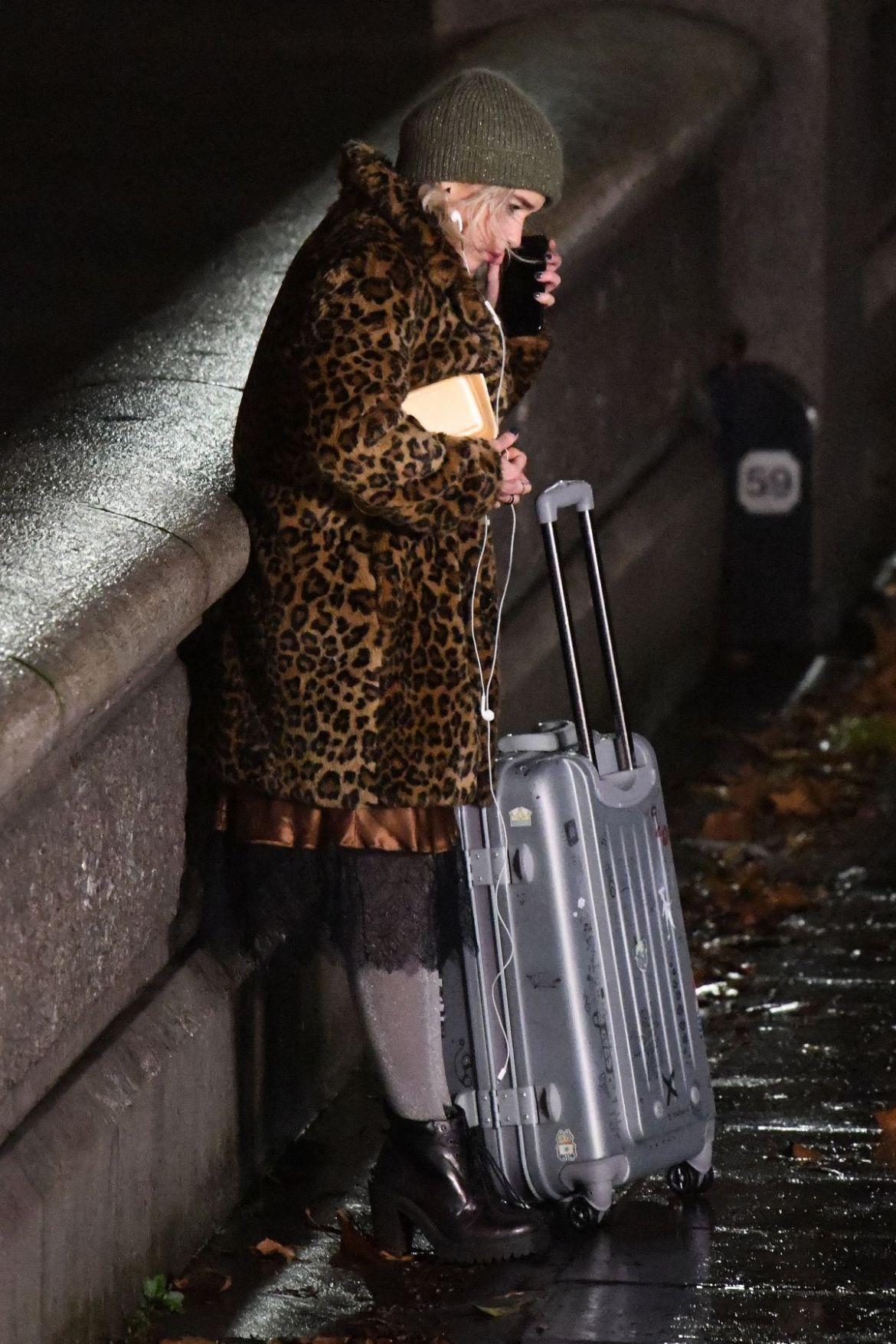 EMILIA CLARKE on the Set of Last Christmas in London 11/28/2018