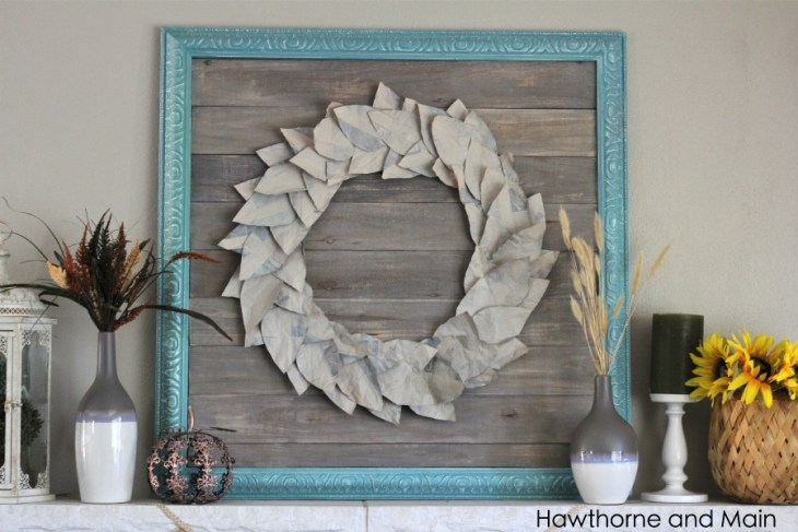 rustic fall wreath made of paper