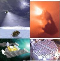 מימין למעלה – תצלום קרוב של גרעין שביט, למטה – קולטן האירוג'ל; משמאל: למעלה – הנחיתה הצפויה ב-2006; למטה: מבנה כללי של החללית