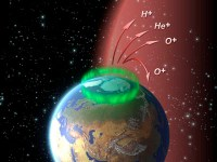 הגזים היוצאים מזוהר הקוטב. איור - סוכנות החלל האירופית ESA