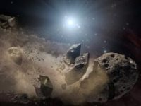 שברי אסטרואידים מקיפים ננס לבן. איור: נאס''א וקאלטק