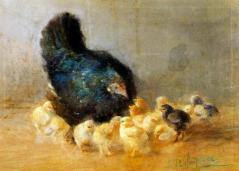 בנימינו פרלאגראסו - תרנגולת ואפרוחים. ציור מהמאה ה-19 של צייר שמת ב-1902 ולפיכך הוא נחלת הכלל. מתוך ויקימדיה