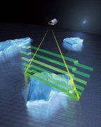 כך ימדוד לווין קריוסאט 2 את עובי שכבת הקרח. איור: סוכנות החלל האירופית