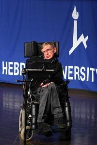 סטיבן הוקינג באוניברסיטה העברית בירושלים, דצמבר 2006. צילום: אבי בליזובסקי