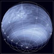 מצלמת הניטור של החללית ונוס אקספרס בתחום האולטרה סגול (0.365 מיקרומטרים) ממרחק של כ-30 אלף קילומטרים. צילום: סוכנות החלל האירופי